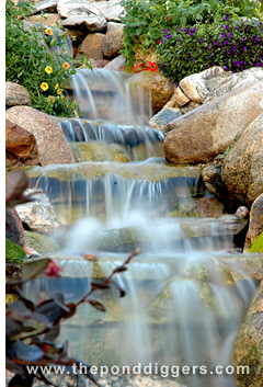 Waterfall in a backyard